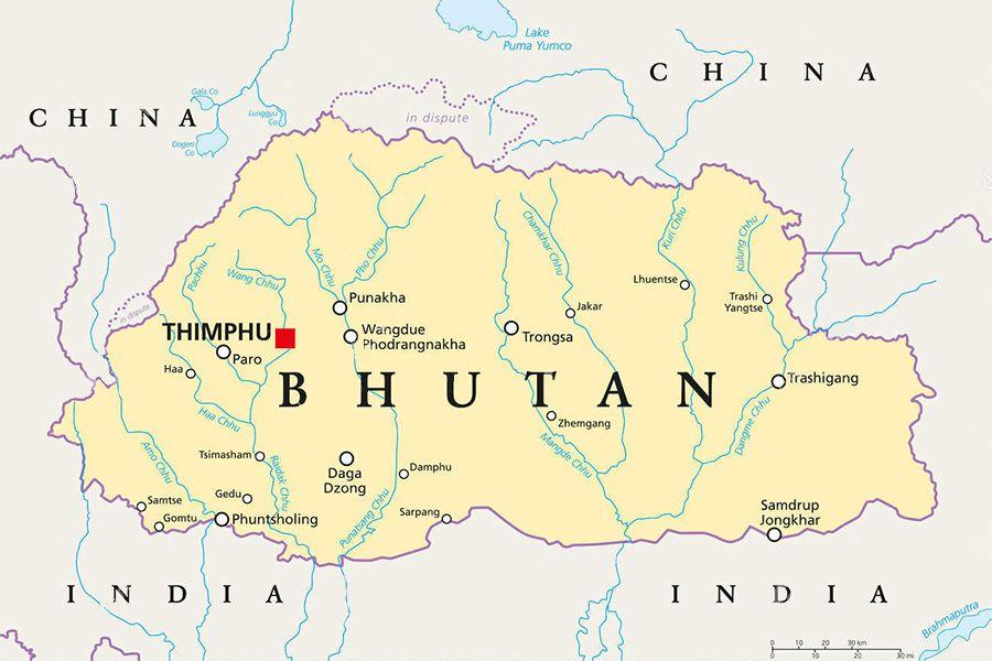 bhutan cartina