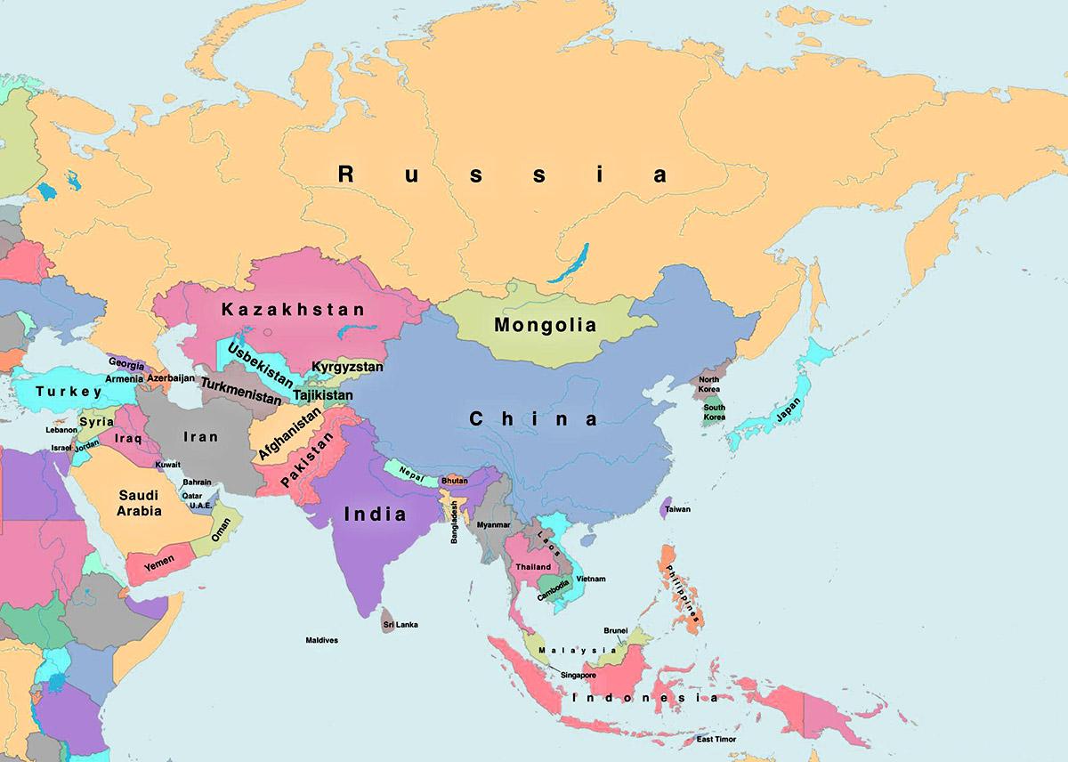 cartina asia